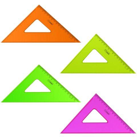"""Треугольник пластиковый 45х16 см, СТАММ """"Neon Crystal"""", тонированный, прозрачный, неоновый, ассорти, ТК57"""