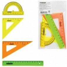 Набор чертежный малый ПИФАГОР (линейка 16 см, 2 треугольника, транспортир), непрозрачный, неоновый, пакет, 210624