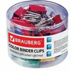 Зажимы для бумаг BRAUBERG, КОМПЛЕКТ 48 шт., 25 мм, на 100 листов, цветные, в пластиковом цилиндре, 221128