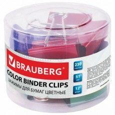 Зажимы для бумаг BRAUBERG, КОМПЛЕКТ 12 шт., 51 мм, на 230 листов, цветные, в пластиковом цилиндре, 221131