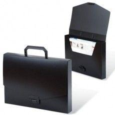 """Папка-портфель пластиковая BRAUBERG """"Energy"""" А4 (330х256х32 мм), без отделений, черная, 221202"""