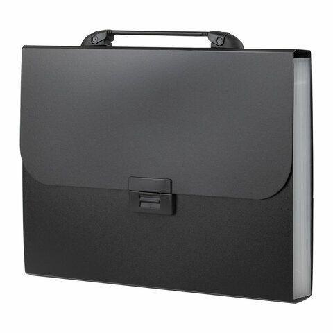 """Папка-портфель пластиковая BRAUBERG """"Energy"""" А4 (330х256х32 мм), 7 отделений, черная, 221204"""