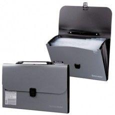 Папка-портфель пластиковая BRAUBERG А4 (327х254х30 мм), 13 отделений, фактура диагональ, серебристая, 221442