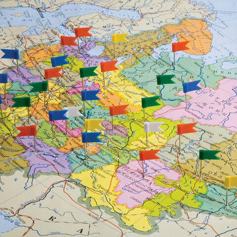 Булавки-флажки маркировочные BRAUBERG, цветные, 50 шт., пластиковая коробка, европодвес, 221537