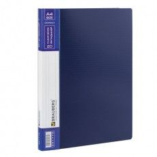 """Папка 20 вкладышей BRAUBERG """"Contract"""", синяя, вкладыши-антиблик, 0,7 мм, бизнес-класс, 221772"""