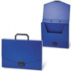 """Папка-портфель пластиковая BRAUBERG """"Energy"""", А4 (330х256х32 мм), без отделений, синий, 222082"""