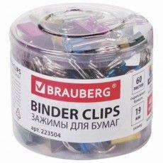 Зажимы для бумаг BRAUBERG, КОМПЛЕКТ 40 шт., 19 мм, на 60 листов, цвет металлик, пластиковый цилиндр, 223504