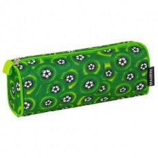 Пенал-косметичка BRAUBERG для учеников начальной школы, зеленый, футбольные мячи, 21х6х8 см, 223907