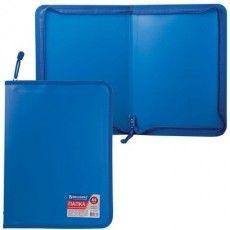 "Папка на молнии пластиковая BRAUBERG ""Стандарт"", стандартная фактура, А4, 325х230 мм, матовая, синяя, 224057"
