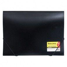 """Папка на резинках BRAUBERG """"Business"""", А4, 7 отделений, пластиковый индекс, черная, 0,5 мм, 224145"""