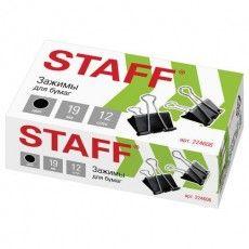"""Зажимы для бумаг STAFF """"EVERYDAY"""", КОМПЛЕКТ 12 шт., 19 мм, на 60 листов, черные, картонная коробка, 224606"""