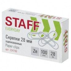 """Скрепки STAFF """"EVERYDAY"""", 28 мм, оцинкованные, 100 шт., в картонной коробке, Россия, 224799"""