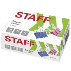 """Зажимы для бумаг STAFF """"Profit"""", КОМПЛЕКТ 12 шт., 41 мм, на 200 листов, цветные, картонная коробка, 225159"""