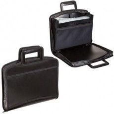 Папка-портфель пластиковая BRAUBERG А4+ (355х290х60 мм), выдвижные ручки, 9 отделений, 1 карман, черная, 225168