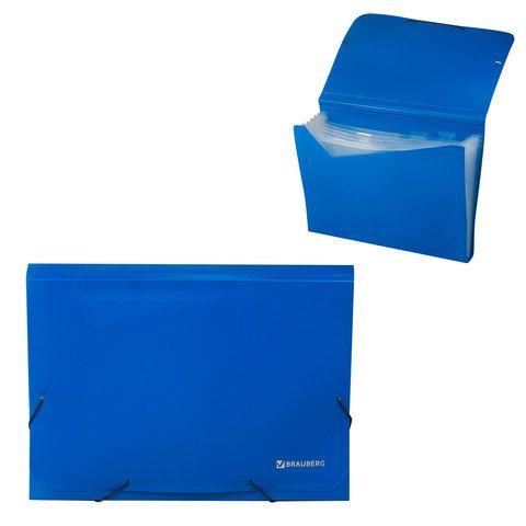 Папка на резинках BRAUBERG, А4, 7 отделений, пластиковые индексы, синяя, Россия, 226017