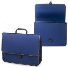 Папка-портфель пластиковая BRAUBERG КОНСУЛ А4 (370х280х120 мм), 2 отделения, фактура бисер, синий, 226021