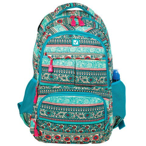 """Рюкзак BRAUBERG для старшеклассников/студентов/молодежи, узоры, """"Индия"""", 27 литров, 47х32х14 см, 226355"""