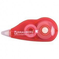 Корректирующая лента BRAUBERG, 5 мм х 6 м, корпус красный, с подкручиванием, блистер, 226809