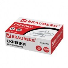 Скрепки BRAUBERG, 28 мм, оцинкованные, 100 шт., в картонной коробке, 227583
