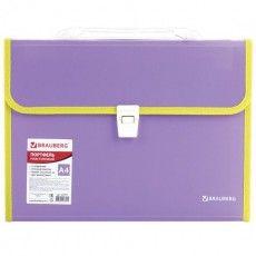 """Папка-портфель пластиковая BRAUBERG """"JOY"""", А4 (330х245х35 мм), 13 отделений, с окантовкой, фиолетовая, 227977"""