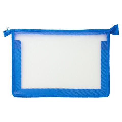 Папка для тетрадей А4 ПИФАГОР, пластик, молния сверху, прозрачная, синяя, 228209