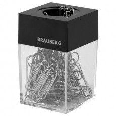 Скрепочница магнитная BRAUBERG со 100 никелированными скрепками 28 мм, прозрачный корпус, 228400