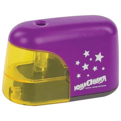 """Точилка электрическая ЮНЛАНДИЯ """"Stars"""", питание от 4 батареек АА, корпус фиолетовый, 228425"""