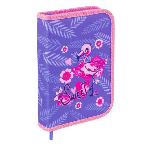 """Пенал BRAUBERG, 1 отделение, ткань, 20х14 см, """"Flamingo"""", 229279"""