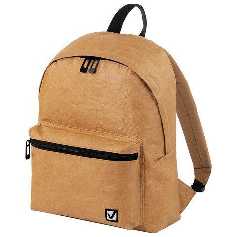 Рюкзак BRAUBERG TYVEK крафтовый с водонепроницаемым покрытием, песочный, 34х26х11 см, 229890