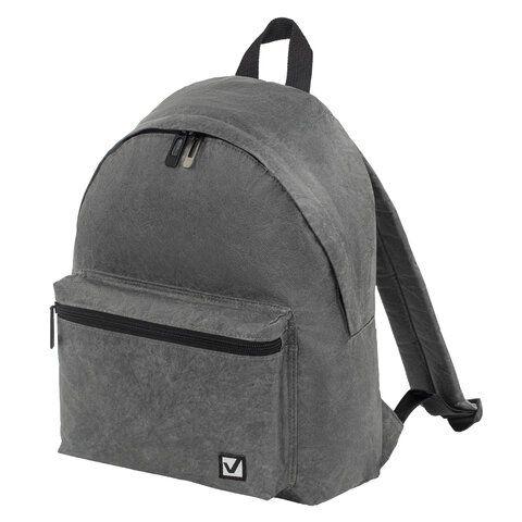 Рюкзак BRAUBERG TYVEK крафтовый с водонепроницаемым покрытием, графитовый, 34х26х11 см, 229892