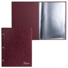 """Папка """"Меню"""" на трех винтах, с 10 файлами, 220х320 мм, бордовая, """"ДПС"""", 2273.М-103"""