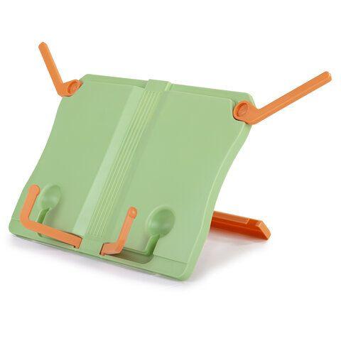 Подставка для книг ЮНЛАНДИЯ, регулируемый наклон, прочный ABS-пластик, светло-зеленая, 237898