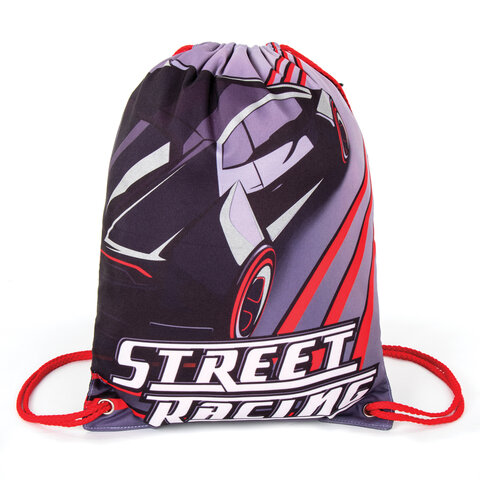 Мешок для обуви BRAUBERG PREMIUM, карман, подкладка, светоотражающие элементы, 43х33 см, Street racing, 270284