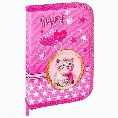 """Пенал BRAUBERG, 1 отделение, 1 откидная планка, полиэстер, 21х14 см, """"Happy kitten"""", 270308"""