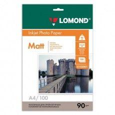 Фотобумага A4, 90 г/м2, 100 листов, односторонняя, матовая, LOMOND, 0102001