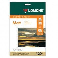 Фотобумага А4, 120 г/м2, 100 листов, односторонняя, матовая, LOMOND, 0102003