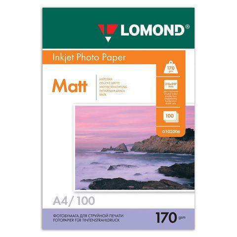 Фотобумага А4, 170 г/м2, 100 листов, двусторонняя, матовая, LOMOND, 0102006