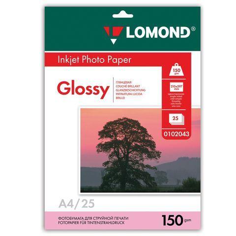 Фотобумага LOMOND для струйной печати, А4, 150 г/м2, 25 л., односторонняя глянцевая, 0102043