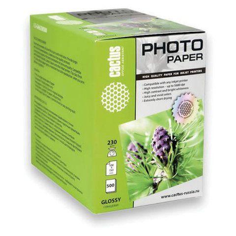 Фотобумага 10x15 см, 230 г/м2, 500 листов, односторонняя, глянцевая, CACTUS CS-GA6230500