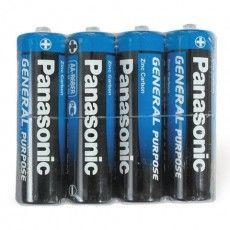 Батарейки КОМПЛЕКТ 4 шт., PANASONIC AA R6 (316), солевые, пальчиковые, в пленке, 1.5 В