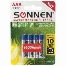 Батарейки КОМПЛЕКТ 4 шт., SONNEN Super Alkaline, AAA (LR03, 24А), алкалиновые, мизинчиковые, в блистере, 451096