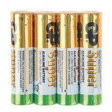 Батарейки КОМПЛЕКТ 4 шт., GP Super, AAA (LR03, 24А), алкалиновые, мизинчиковые, в пленке, 24ARS-2SB4