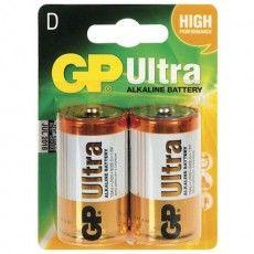 Батарейки GP Ultra, D (LR20, 13А), алкалиновые, комплект 2 шт., в блистере, 13AU-CR2
