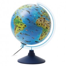 """Глобус зоогеографический GLOBEN """"Классик Евро"""", диаметр 250 мм, с подсветкой, детский, Ке012500270"""