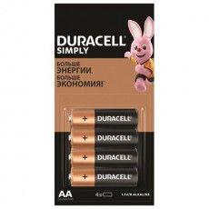 Батарейки КОМПЛЕКТ 4 шт. (отрывной блок), DURACELL Simply, AA (LR06, 15А), алкалиновые, пальчиковые, 5009139