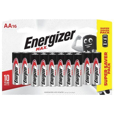 Батарейки КОМПЛЕКТ 16 шт., ENERGIZER Max, AA (LR06,15А), алкалиновые, пальчиковые, E301533101