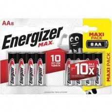 Батарейки КОМПЛЕКТ 8 шт., ENERGIZER Max, AA (LR06, 15А), алкалиновые, пальчиковые, блистер, E301531301