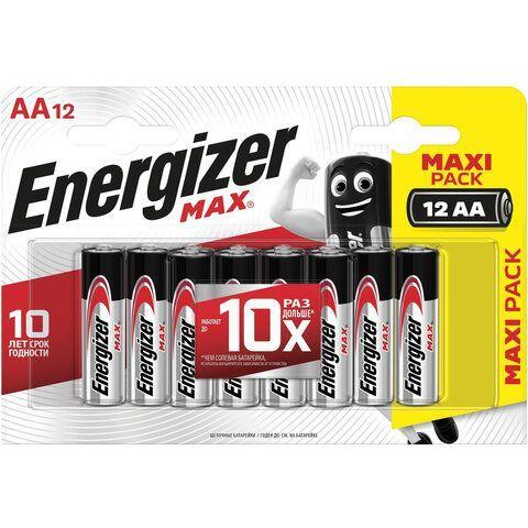 Батарейки КОМПЛЕКТ 12 шт., ENERGIZER Max, AA (LR06, 15А), алкалиновые, пальчиковые, блистер, E301531401