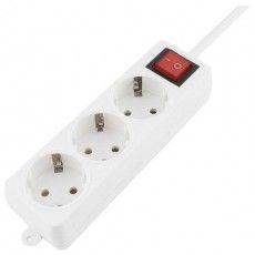 Удлинитель ГАРНИЗОН с выключателем, 3 розетки с заземлением, 3 м, 3х1 мм, 3500 Вт, белый, ELB-G3-W-3