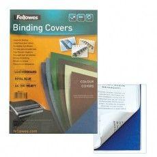 Обложки картонные для переплета А4, КОМПЛЕКТ 100 шт., тиснение под кожу, 250 г/м2, синие, FELLOWES, FS-53713